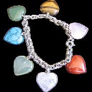 Vintage Sterling Multi Gemstone Heart Charm Bracelet
