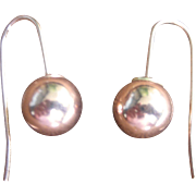 Antique Victorian 14kt Rose Gold Ball Earrings