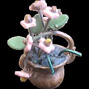 Vintage Doll House Copper Pot Flower Arrangement