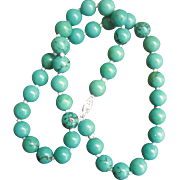 Vintage Sterling Chinese Turquoise 10MM Bead Necklace
