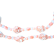 Vintage 14kt Chinese Angel Skin Coral Porcelain Bead Necklace