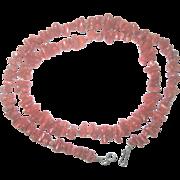 Vintage Sterling Natural Red Coral 24'' Necklace