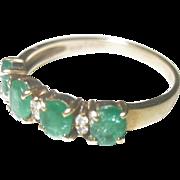 Vintage 1.10ct Columbian Emerald Diamond 14kt Stackable Wedding Band