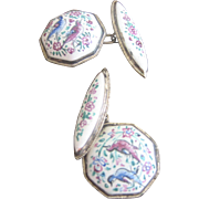 Antique Victorian Sterling Enamel Cuff Links