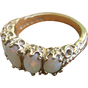 Antique Victorian 9 kt English 5 Opals Stone Wedding Band Ring