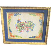 Vintage Chinese Dragon Needlepoint Framed in Gold Leaf Frame