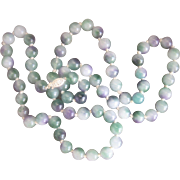 Vintage Sterling Chinese Lavender, White, Green Jade Bead (10mm) Necklace
