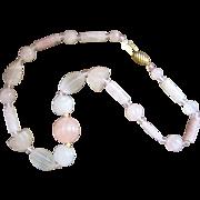 Vintage White and Rose Quartz Necklace
