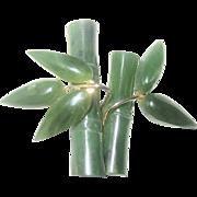 Vintage Swaboda Jade Bamboo Pin