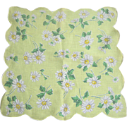 Vintage 1950's Daisy Flower Linen Handkerchief
