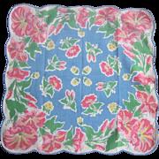 Vintage 1950's Floral Handkerchief
