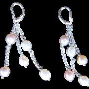 Vintage Sterling Cultured Pearl Dangling Earring