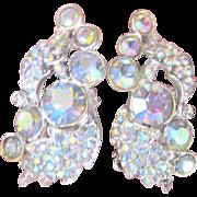 Vintage 1950's Ear Climber Crystal Earrings