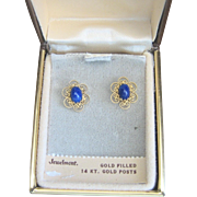 Vintage Lapis Gold Filled Filigree Earrings with 14kt Posts