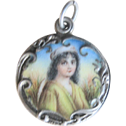 Antique French Art Nouveau Sterling Porcelain Locket