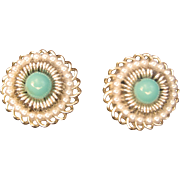 Vintage Faux Turquoise Faux Pearls Gold Tone Earrings