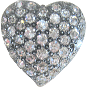 Early 1900's Sterling 10kt Paste Heart Pin Pendant