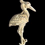Vintage 1950's Large Kramer Heron Pin