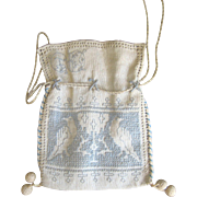 Antique Victorian Embroidered Linen Purse