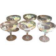 Antique circa 1900's Bavarian Hand Painted Dessert Compote Glasses
