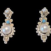 Vintage Victorian Revival 14kt Persian Turquoise Pearl Drop Earrings