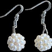 Vintage Sterling Cultured Pearl 16mm Ball Dangling Earrings