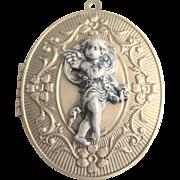 Antique Large Victorian Pinchbeck Cupid Pewter Locket