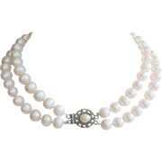 Vintage Double Strand Cultured 11mm Saltwater Pearl Necklace with Sterling Clasp