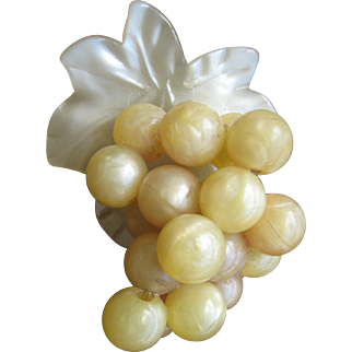 Antique Edwardian Early Celluloid Grape Cluster Pin