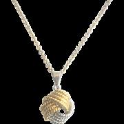 CLEARANCE..Vintage Sterling Vermeil Love Knot Necklace