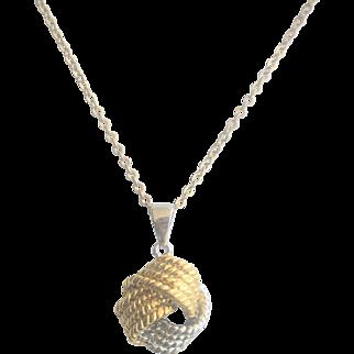 Vintage Sterling Vermeil Love Knot Necklace
