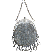 Art Nouveau Circa 1900 Chatelaine Beaded 800 Silver Bag