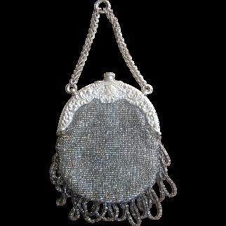 Art Nouveau Circa 1900 Chatelaine Beaded 800 Silver Bag