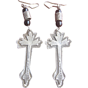 Antique Victorian Sterling Black Onyx Cross Earrings
