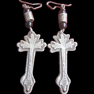 Antique Victorian Sterling Black Onyx Cross Earrings