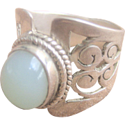 Vintage Wide Band Sterling with Jade Cabochon Ring