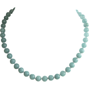 Vintage 8mm Aquamarine Bead Necklace with Sterling Clasp