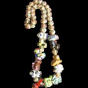 Vintage Chinese Porcelain Zodiac Charm Necklace