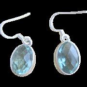 Vintage Sterling 8ct Natural Aquamarine Dangling Earrings