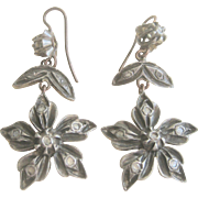 Antique Georgian Diamond .50 cts. 14kt Sterling Flower Earrings