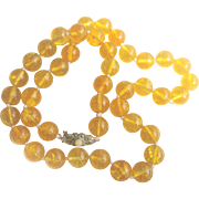 Vintage 165 ct Citrine Bead 10mm Necklace with Sterling Clasp