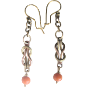 Upcycled 14kt Wires with Gold Filled Coral Dangling Earrings