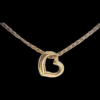 Vintage 14kt Floating Heart on Gold Filled Chain Necklace