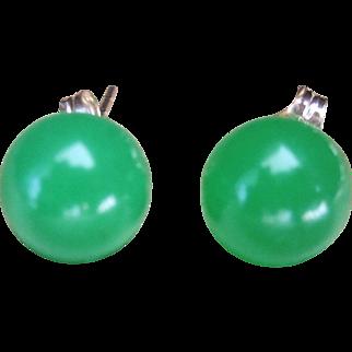 Vintage Apple Green Jade 8mm Ball Stud Earrings