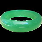 Vintage Apple Green Jade Bangle Bracelet