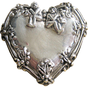 Vintage Large Sterling Victorian Revival Heart Pin Pendant