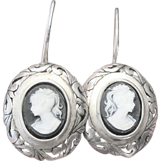 Antique Victorian Hardstone Cameo Sterling Drop Earrings