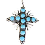 Vintage Southwest Sterling Double Sided Turquoise Coral Cross Pendant