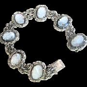 Antique Edwardian 800 Silver Cameo Bracelet