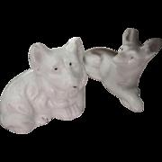 Vintage Pair of Miniature Dollhouse Bisque Dogs